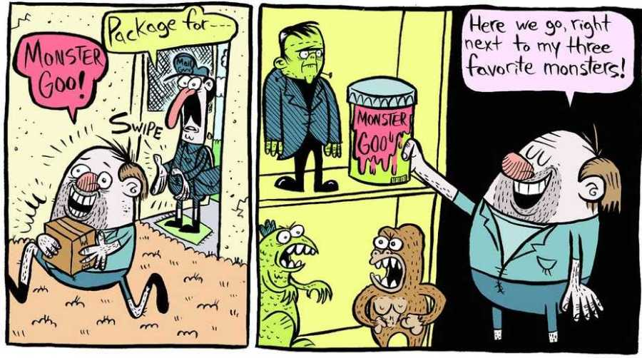 """David DeGrand has a fantastic comic strip at Heeby Jeeby Comix. As you can  guess, Nothing Good is going to come of this """"Monster Goo."""