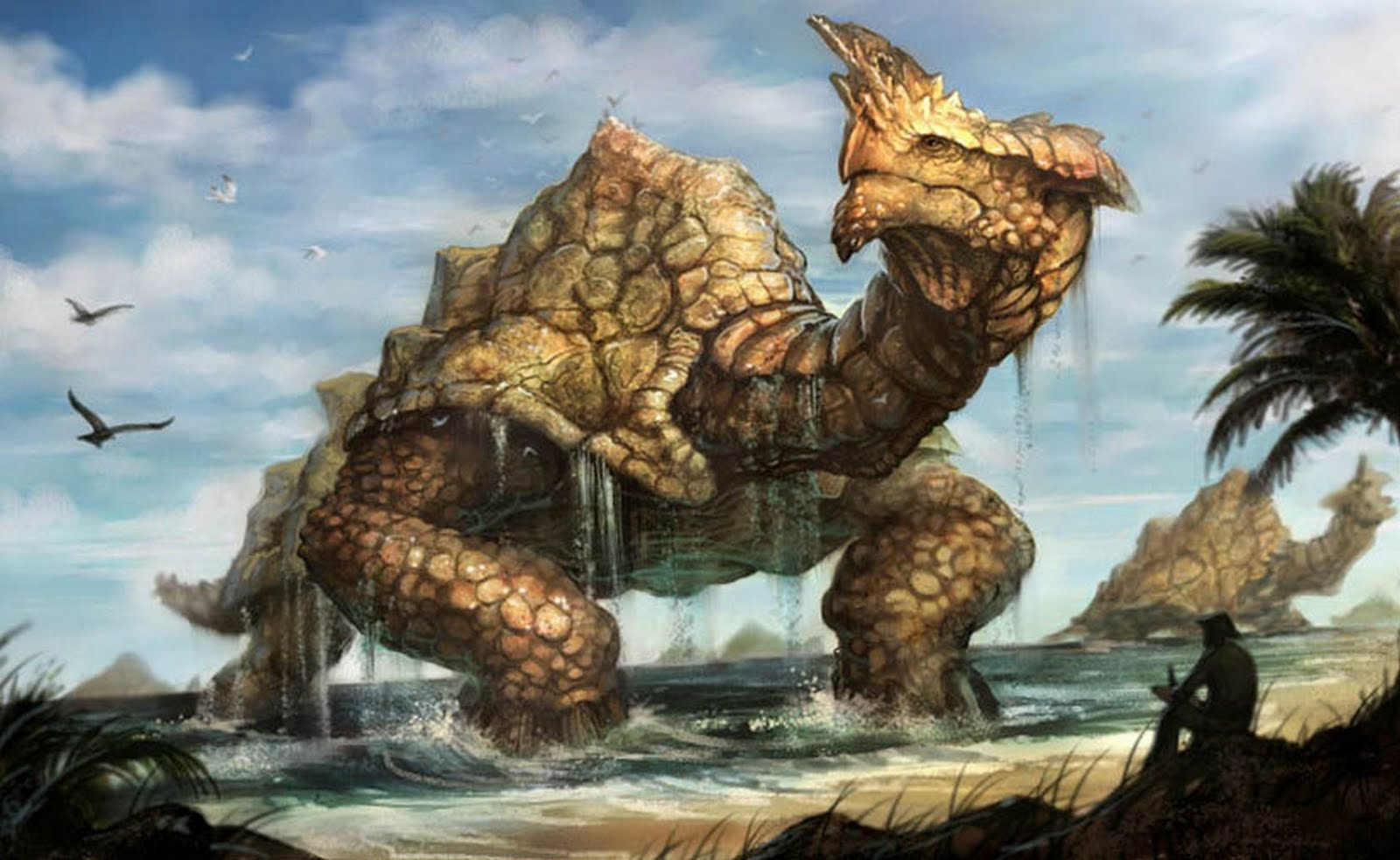 Giant Monster Art Out Of The Sea And Into The City Kill All Monsters